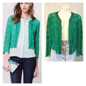 Anthro Elevenses Green Lace Bloom Blazer/Cardigan